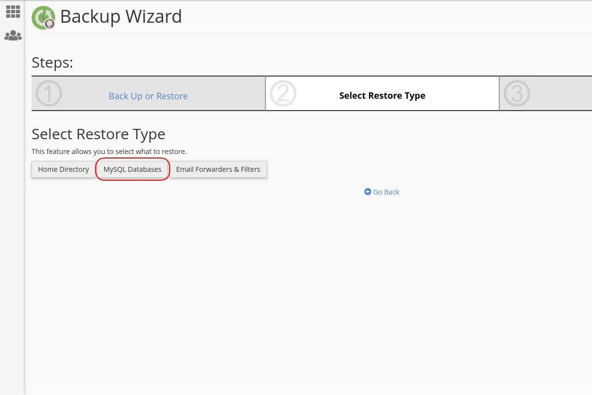 Vraćanje sigurnosne kopije baze podataka preko Backup Wizard opcije