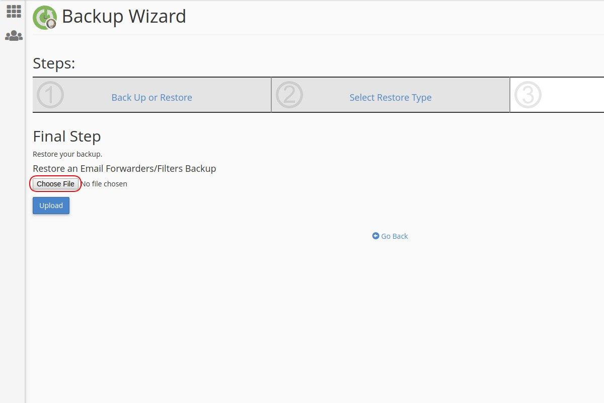 Vraćanje sigurnosne kopije mejl filtera preko Backup Wizard opcije