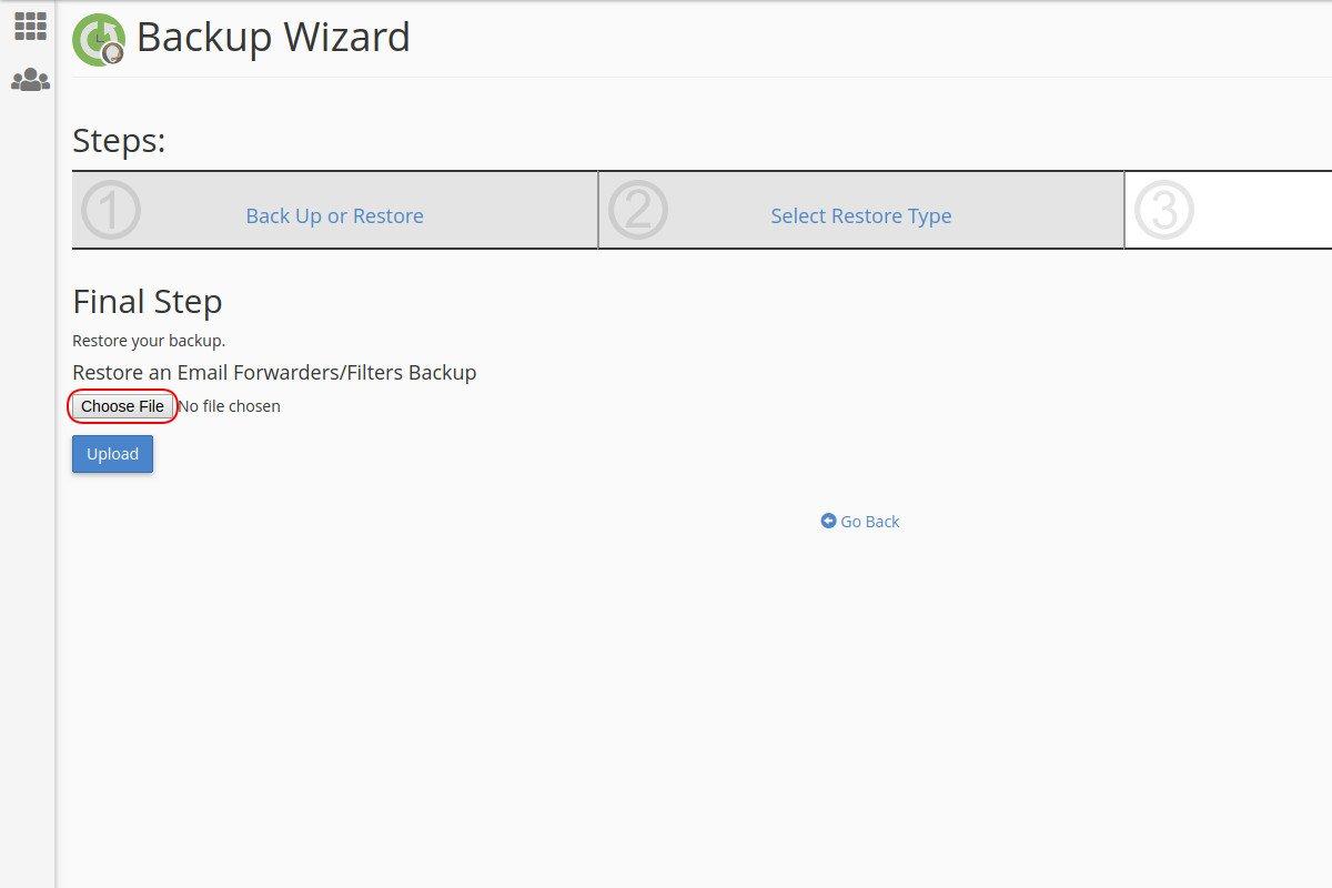 Vraćanje sigurnosne kopije adresa prosleđivača mejlova preko Backup Wizard opcije