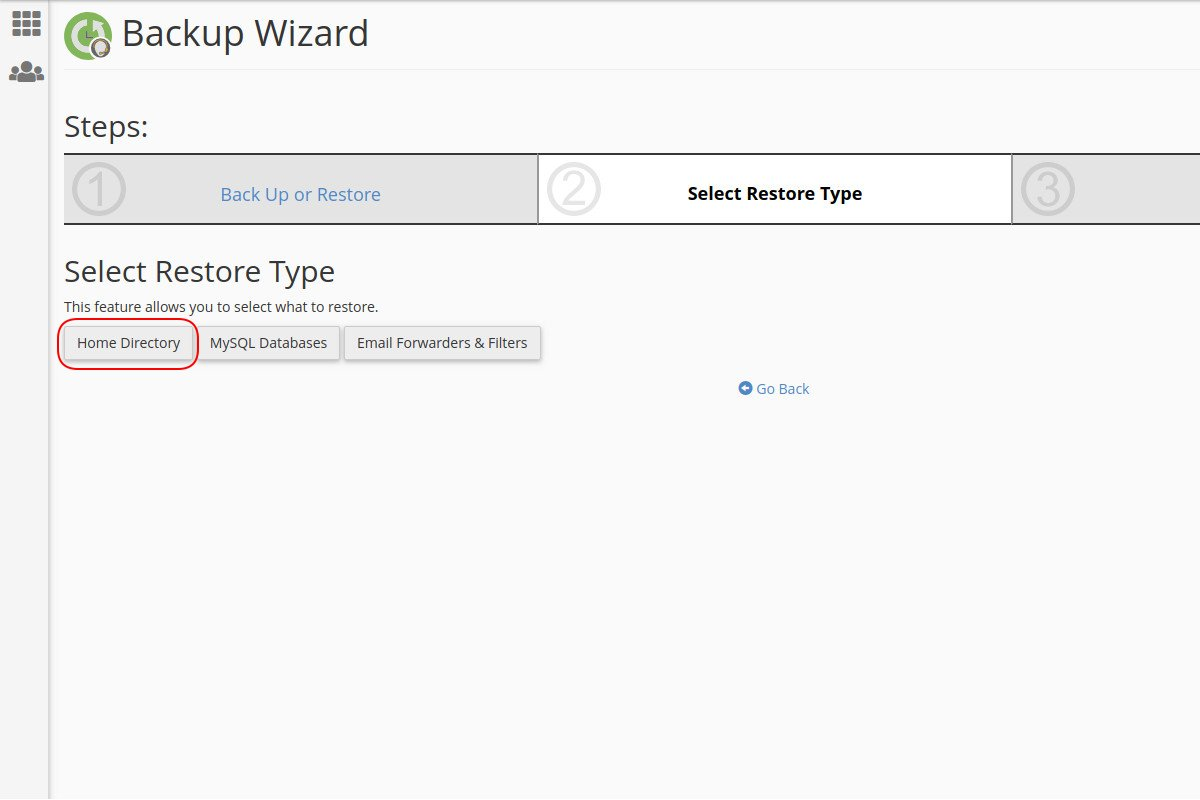 Vraćanje sigurnosne kopije glavnog (home) direktorijuma preko Backup Wizard opcije