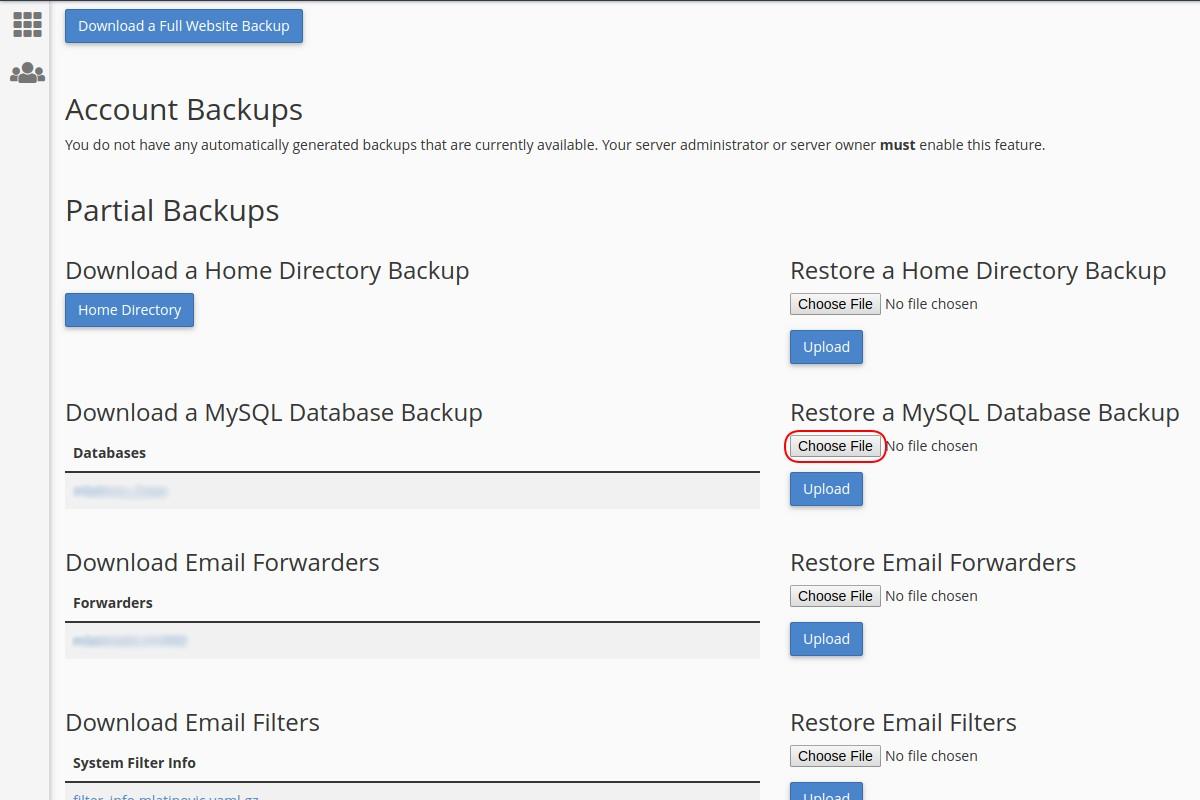 Vraćanje sigurnosne kopije baze podataka