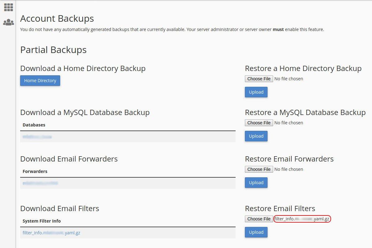 Vraćanje sigurnosne kopije mejl filtera