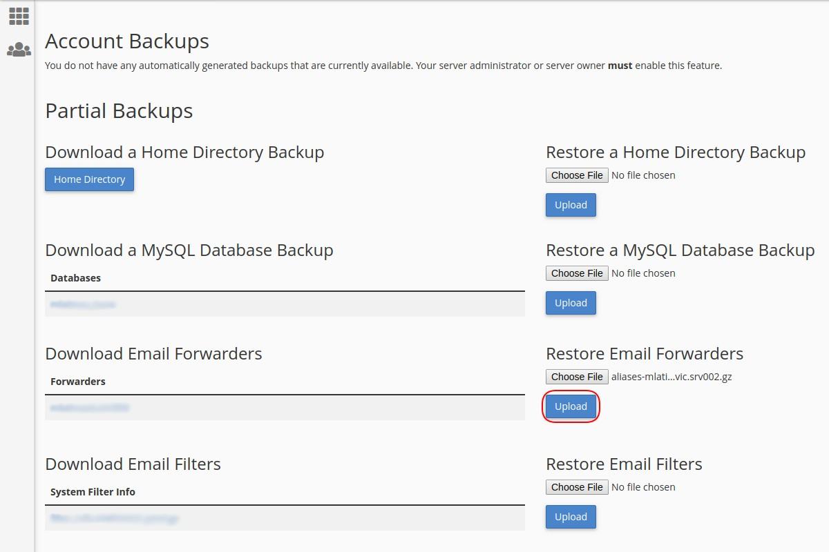 Vraćanje sigurnosne kopije adresa prosleđivača mejlova