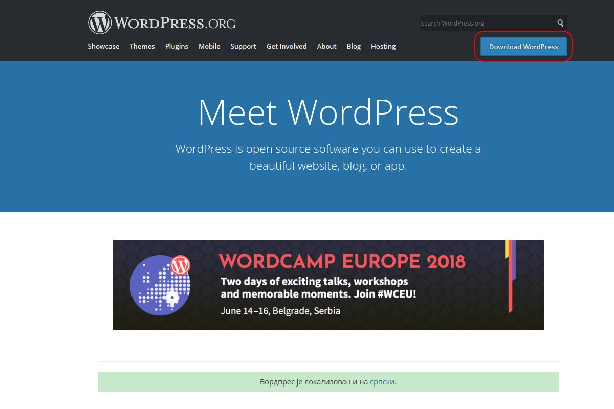WordPress.org sajt i download link