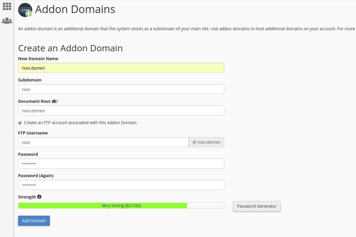 Kreiranje lozinke za addon domen kroz cPanel