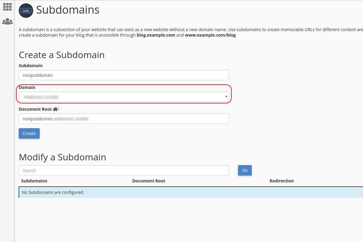 Kreiranje poddomena za domen kroz cPanel