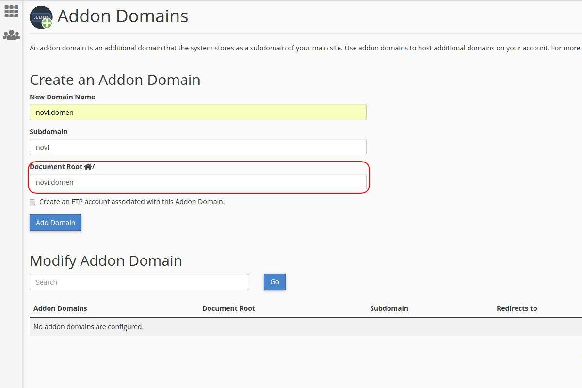 Kreiranje addon domena kroz cPanel