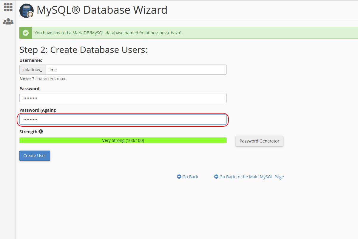 Kreiranje baze podataka