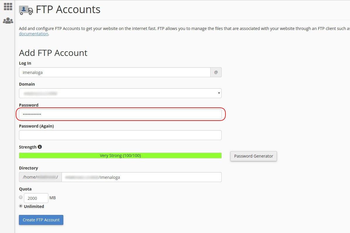 Креирање lozinke za FTP налог на cPanel-у