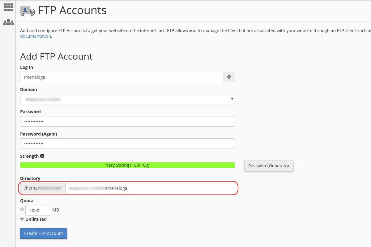 Креирање putanje za direktorijum FTP налога на cPanel-у